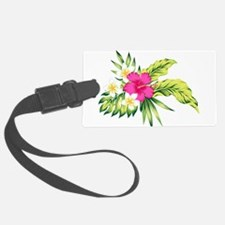 Pink Hibiscus Tropical Flowers Luggage Tag