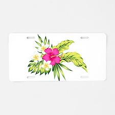 Pink Hibiscus Tropical Flow Aluminum License Plate