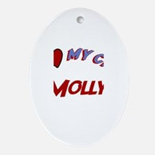 I Love My Cat Molly Oval Ornament