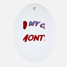 I Love My Cat Monty Oval Ornament