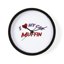 I Love My Cat Muffin Wall Clock