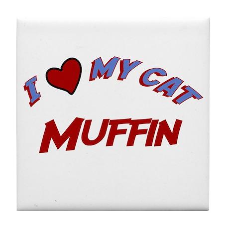 I Love My Cat Muffin Tile Coaster