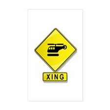 Helicopter XING Rectangle Decal