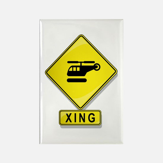 Helicopter XING Rectangle Magnet