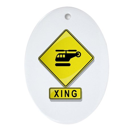 Helicopter XING Oval Ornament