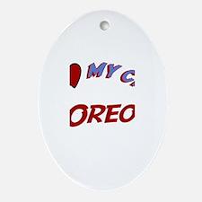 I Love My Cat Oreo Oval Ornament
