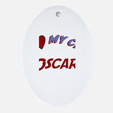 I Love My Cat Oscar Oval Ornament