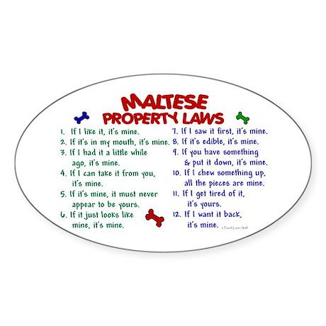 Maltese Property Laws 2 Oval Sticker