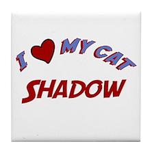 I Love My Cat Shadow Tile Coaster