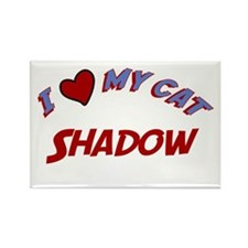 I Love My Cat Shadow Rectangle Magnet