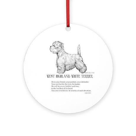 Westhighland Terrier Devotion Ornament (Round)