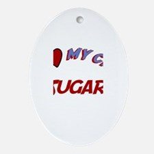I Love My Cat Sugar Oval Ornament