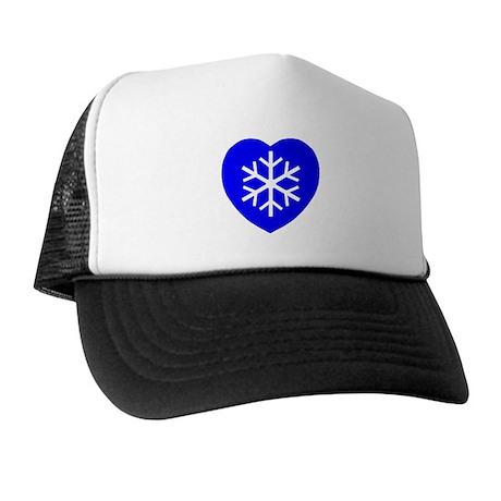 Love Blue Snowflake Heart Trucker Hat