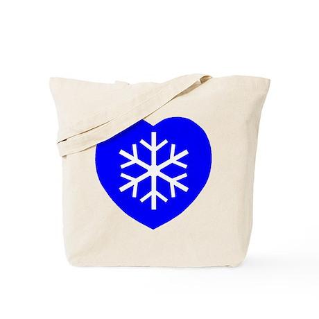 Love Blue Snowflake Heart Tote Bag