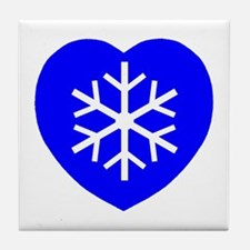 Love Blue Snowflake Heart Tile Coaster