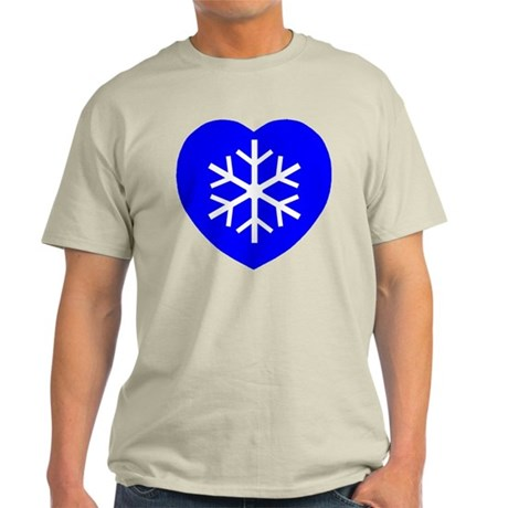Love Blue Snowflake Heart Light T-Shirt