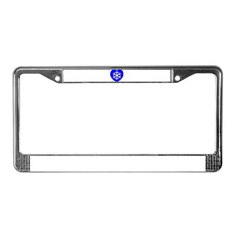 Love Blue Snowflake Heart License Plate Frame