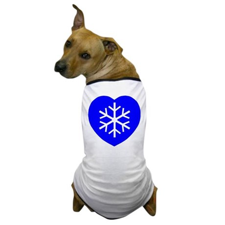 Love Blue Snowflake Heart Dog T-Shirt