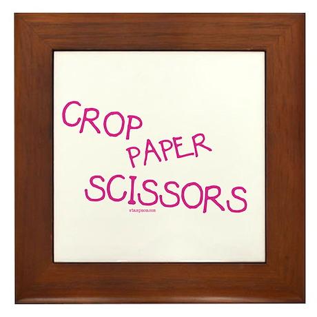 Pink Crop Paper Scissors Framed Tile
