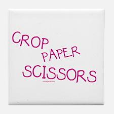 Pink Crop Paper Scissors Tile Coaster