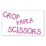 Pink Crop Paper Scissors Rectangle Sticker