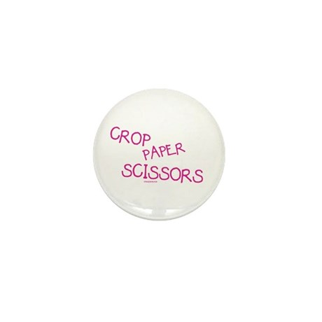 Pink Crop Paper Scissors Mini Button (10 pack)