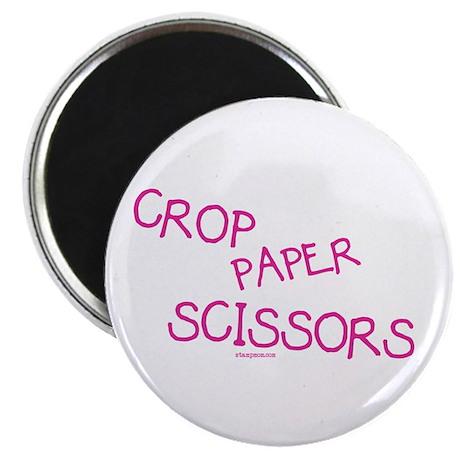 "Pink Crop Paper Scissors 2.25"" Magnet (10 pack)"