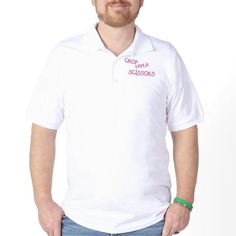 Pink Crop Paper Scissors Golf Shirt
