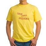 Pink Crop Paper Scissors Yellow T-Shirt