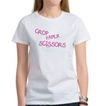 Pink Crop Paper Scissors Women's T-Shirt