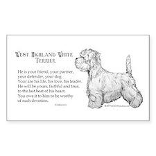 Westhighland Terrier Devotion Sticker (Rectangular