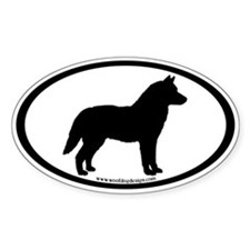 Siberian Husky Dog Oval Oval Decal