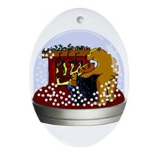 Snow Globe Bears Oval Ornament