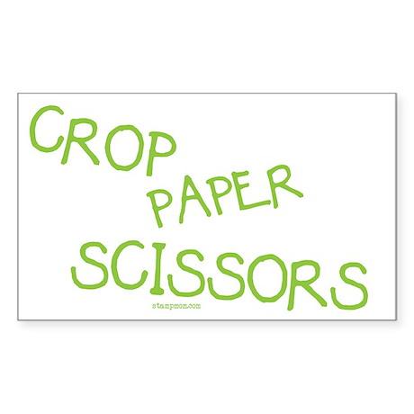Green Crop Paper Scissors Rectangle Sticker