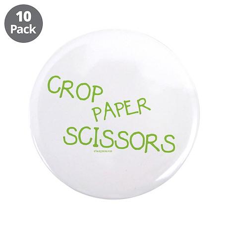 "Green Crop Paper Scissors 3.5"" Button (10 pack)"