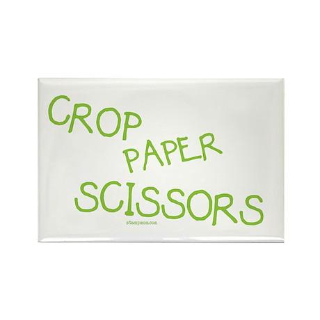 Green Crop Paper Scissors Rectangle Magnet (10 pac