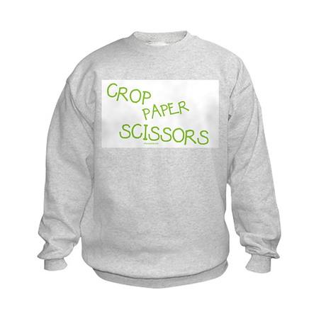 Green Crop Paper Scissors Kids Sweatshirt