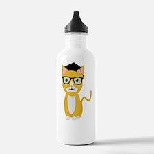 nerd geek cat Water Bottle