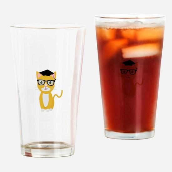 nerd geek cat Drinking Glass