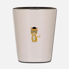 nerd geek cat Shot Glass