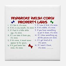 Pembroke Welsh Corgi Property Laws 2 Tile Coaster