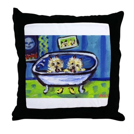 CAIRN TERRIER bath Design Throw Pillow