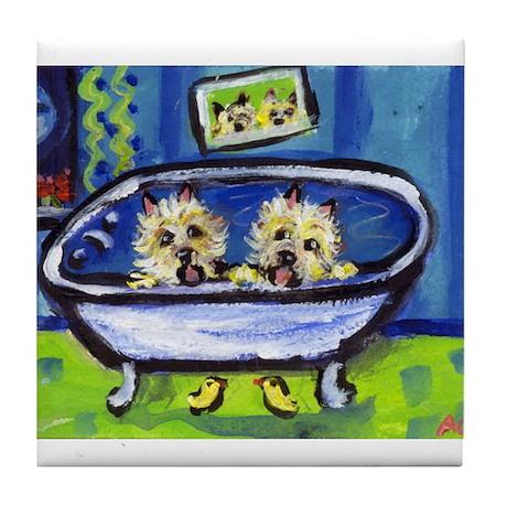 CAIRN TERRIER bath Design Tile Coaster