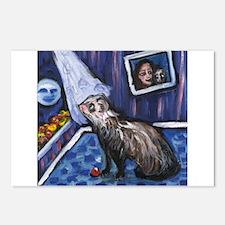 whimsical FERRET art for Ferr Postcards (Package o
