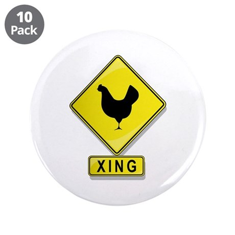 """Chicken XING 3.5"""" Button (10 pack)"""
