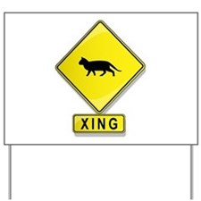 Cat XING Yard Sign