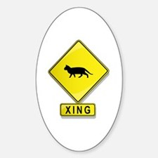 Cat XING Oval Decal