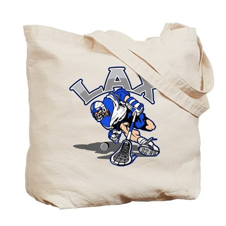 Lacrosse Player In Blue Tote Bag