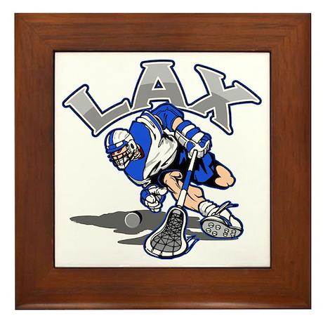 Lacrosse Player In Blue Framed Tile