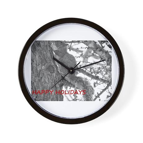 Holiday Squirrel Wall Clock